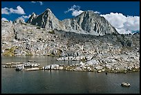Lake, Isoceles Peak and Mt Giraud, Dusy Basin. Kings Canyon National Park, California, USA.