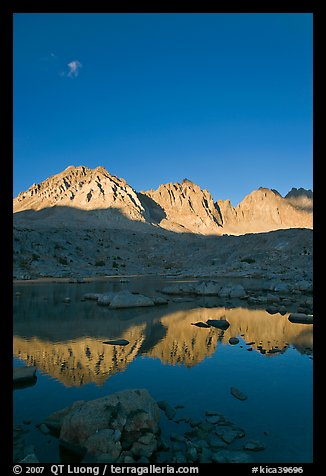 Palissades chain reflected in lake, Dusy Basin. Kings Canyon National Park (color)