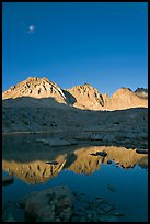 Palissades chain reflected in lake, Dusy Basin. Kings Canyon National Park ( color)