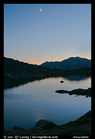 Lake and mountains with moon, Dusy Basin. Kings Canyon National Park (color)