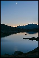 Lake and mountains with moon, Dusy Basin. Kings Canyon National Park ( color)