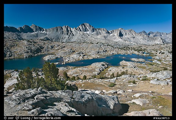 Alpine terrain, lakes and mountains, morning, Dusy Basin. Kings Canyon National Park (color)