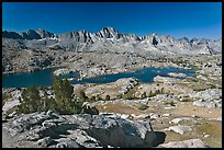 Alpine terrain, lakes and mountains, morning, Dusy Basin. Kings Canyon National Park, California, USA.