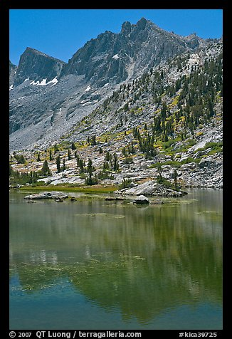 Mt Giraud and lake, Lower Dusy Basin. Kings Canyon National Park (color)