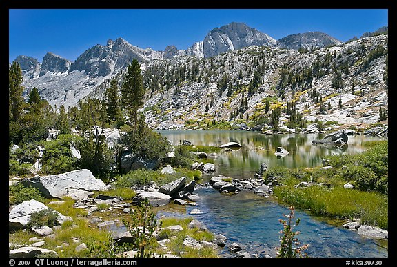 Outlet stream, lake, and mountains, Lower Dusy Basin. Kings Canyon National Park (color)