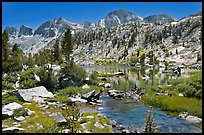 Outlet stream, lake, and mountains, Lower Dusy Basin. Kings Canyon National Park, California, USA.