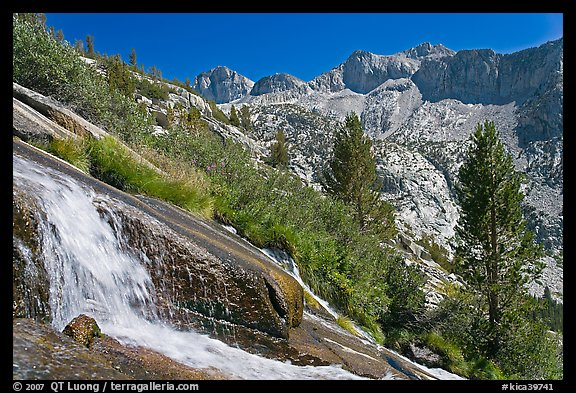 Waterfall, and mountains, Le Conte Canyon. Kings Canyon National Park (color)