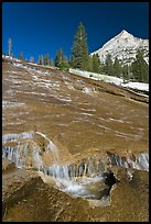 Water flowing over granite slab, Le Conte Canyon. Kings Canyon National Park ( color)