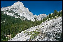 Granite slab and Langille Peak, Le Conte Canyon. Kings Canyon National Park ( color)