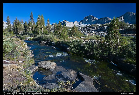 Stream and Mt Giraud chain, Lower Dusy basin. Kings Canyon National Park (color)