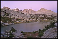 Columbine Peak and Palissades above lake at dusk, Lower Dusy basin. Kings Canyon National Park ( color)