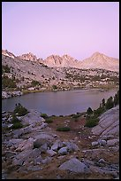Palissades and Columbine Peak above lake at dusk, Lower Dusy basin. Kings Canyon National Park ( color)