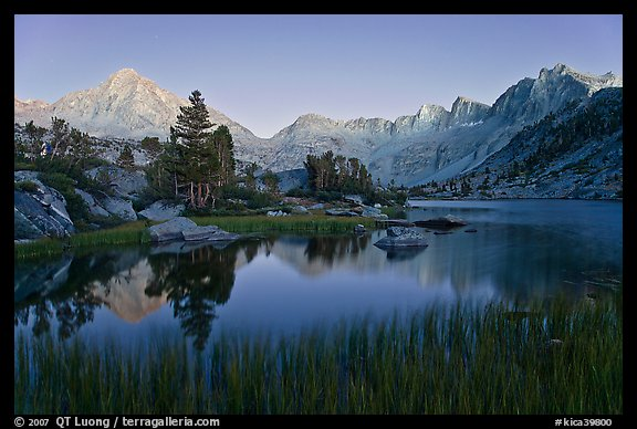 Lake, grasses, and Palissade mountains at dusk. Kings Canyon National Park (color)