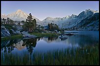 Lake, grasses, and Palissade mountains at dusk. Kings Canyon National Park, California, USA. (color)