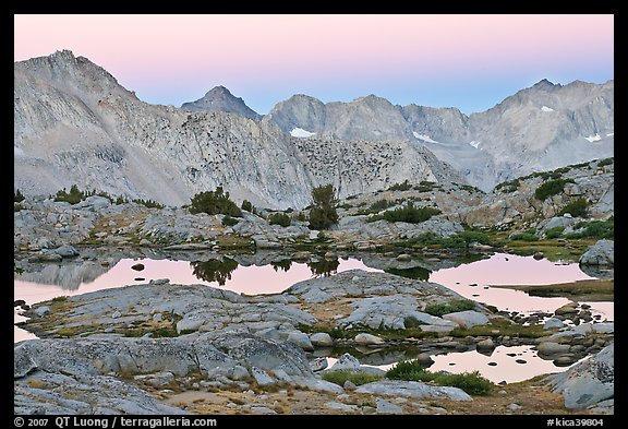 Alpine lakes and mountain range at dawn, Dusy Basin. Kings Canyon National Park (color)