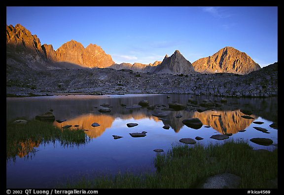 Mt Thunderbolt, Isoceles Peak, and Palissades reflected in a lake in Dusy Basin, sunset. Kings Canyon National Park (color)