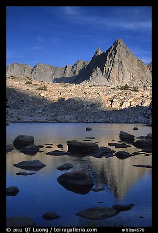 Isoceles Peak reflected in a lake in Dusy Basin, late afternoon. Kings Canyon National Park (color)