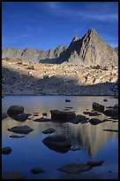 Isoceles Peak reflected in a lake in Dusy Basin, late afternoon. Kings Canyon National Park, California, USA.