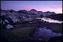 Ponds in Dusy Basin and Mt Giraud, sunset. Kings Canyon National Park, California, USA.
