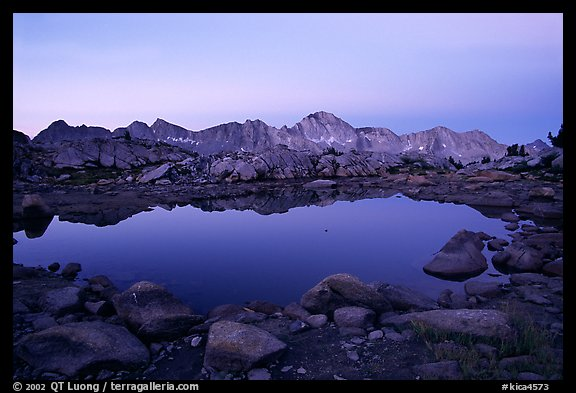 Pond in Dusy Basin and Mt Giraud, dawn. Kings Canyon National Park (color)