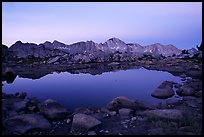 Pond in Dusy Basin and Mt Giraud, dawn. Kings Canyon National Park, California, USA.
