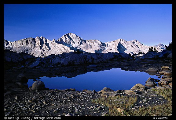 Pond in Dusy Basin and Mt Giraud, early morning. Kings Canyon National Park (color)