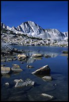 Mt Giraud reflected in a lake in Dusy Basin, morning. Kings Canyon National Park, California, USA. (color)