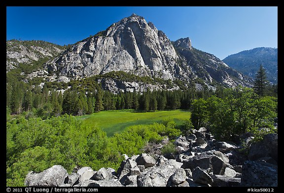 Zumwalt Meadow and North Dome in spring. Kings Canyon National Park (color)