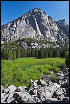 High granite walls above lush meadow. Kings Canyon National Park, California, USA. (color)