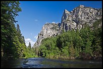 Granite cliffs raising above South Forks of the Kings River. Kings Canyon National Park ( color)