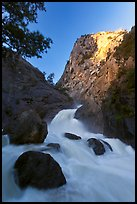Roaring River Falls below high granite cliff. Kings Canyon National Park, California, USA. (color)