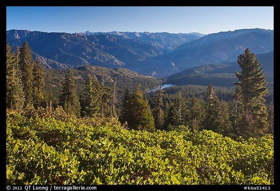 View over Hume Lake and Sierra Nevada from Panoramic Point. Kings Canyon National Park (color)
