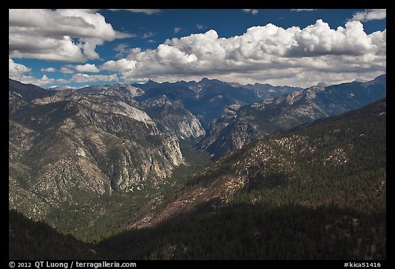 Cedar Grove Valley view and clouds. Kings Canyon National Park (color)
