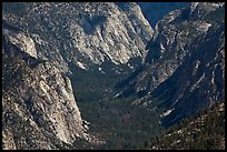 Valley carved by glaciers from above, Cedar Grove. Kings Canyon National Park, California, USA.