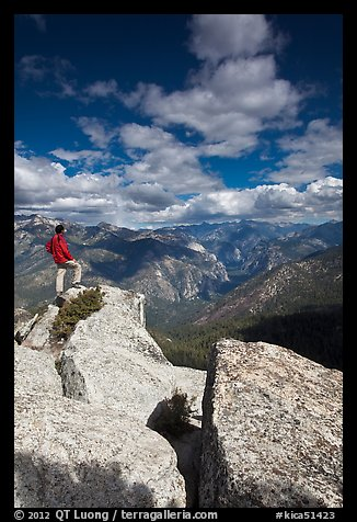 Hiker taking in view from Lookout Peak. Kings Canyon National Park (color)