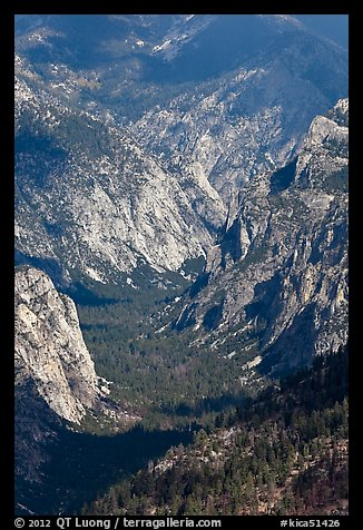 U-shaped valley from above, Cedar Grove. Kings Canyon National Park (color)