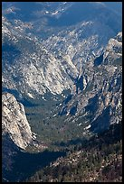 U-shaped valley from above, Cedar Grove. Kings Canyon National Park, California, USA.