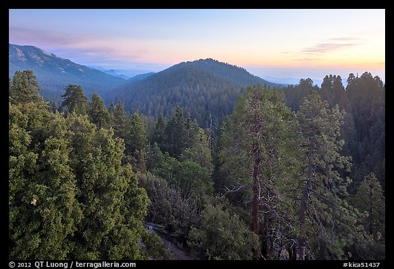 Redwood Canyon from above, sunset. Kings Canyon National Park (color)