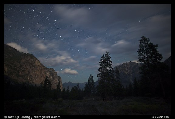 Cedar Grove valley at night. Kings Canyon National Park (color)