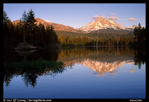 Manzanita lake and Mount Lassen in early summer, sunset. Lassen Volcanic National Park (color)