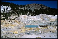 Colorful deposits and turquoise pool in Bumpass Hell thermal area. Lassen Volcanic National Park, California, USA. (color)