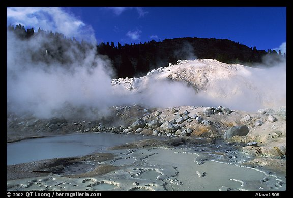 Mud cauldrons and fumeroles in Bumpass Hell thermal area. Lassen Volcanic National Park (color)