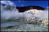 Mud cauldrons and fumeroles in Bumpass Hell thermal area. Lassen Volcanic National Park, California, USA. (color)