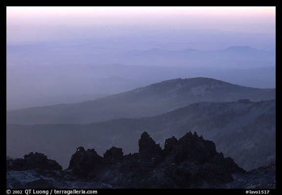 Ridges and volcanic rocks from  summit of Lassen Peak, sunset. Lassen Volcanic National Park (color)