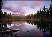 Reflection lake and Chaos Crags, sunset. Lassen Volcanic National Park, California, USA.