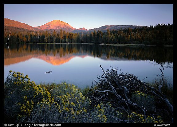 Manzanita lake and  Mount Lassen in late summer, sunset. Lassen Volcanic National Park (color)