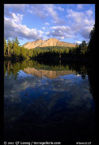 Reflection lake and Chaos Crags, sunset. Lassen Volcanic National Park (color)