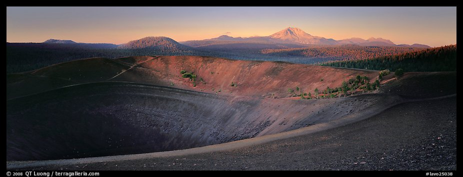 Cinder cone and Lassen Peak at dawn. Lassen Volcanic National Park (color)