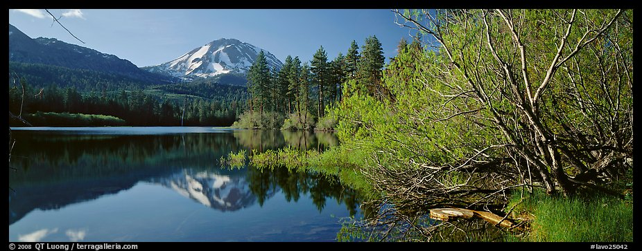 Lassen Peak reflections in the spring. Lassen Volcanic National Park (color)