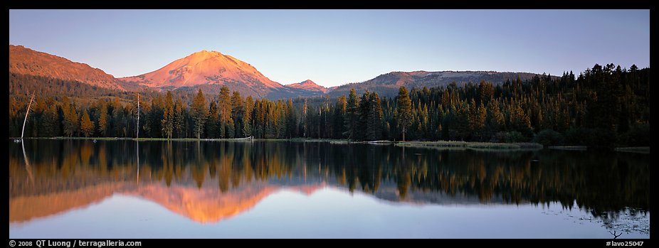 Lassen Peak reflected in Manzanita lake at sunset. Lassen Volcanic National Park (color)